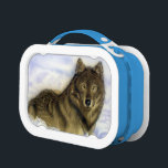 """Winter Wolf Lunch Box<br><div class=""""desc"""">Here&#180;s looking at you! Get this wolf laying in the snow to stare you down! Original airbrush art. for wolf lovers.</div>"""