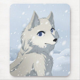 Winter wolf mouse pad