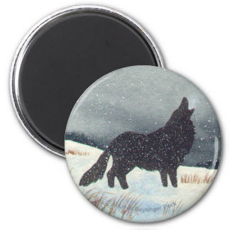 Winter Wolf Painting 2 Inch Round Magnet