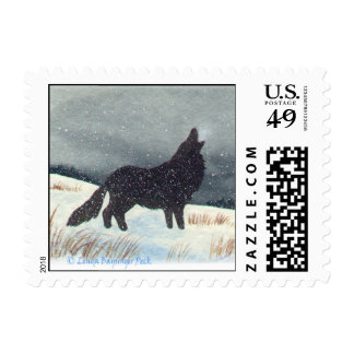 Winter Wolf Painting Postage