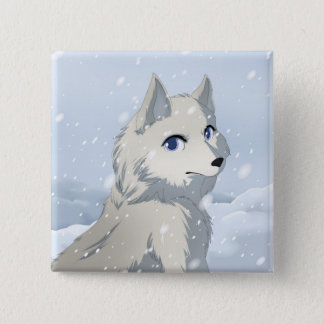 Winter wolf pinback button