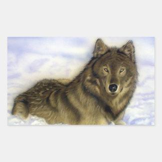 Winter Wolf Rectangular Sticker