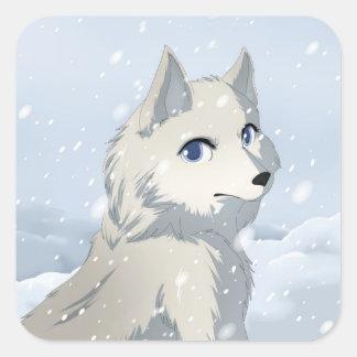 Winter wolf square sticker