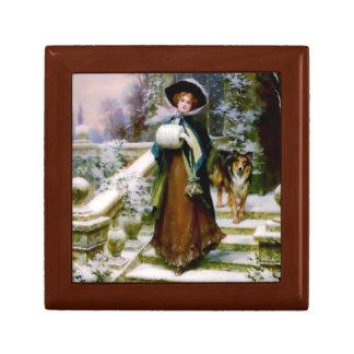 Winter Woman Collie Dog Gift Box