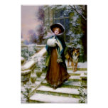 Winter Woman Collie Dog Poster at Zazzle