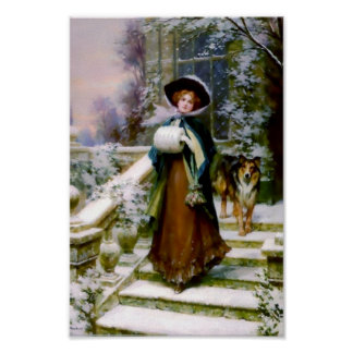 Winter Woman Collie Dog Posters