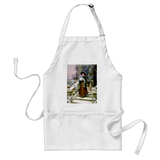 Winter Woman Collie Dog Victorian Hand Muff Adult Apron
