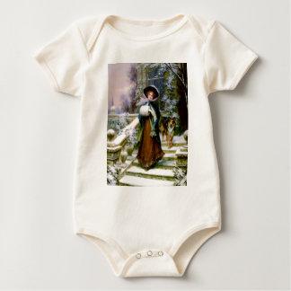 Winter Woman Collie Dog Victorian Hand Muff Baby Bodysuit