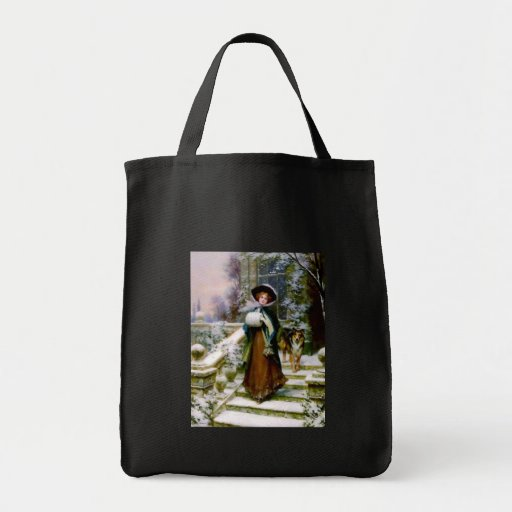 Winter Woman Collie Dog Victorian Hand Muff Tote Bag