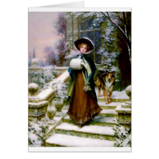 Winter Woman Collie Dog Victorian Hand Muff Card