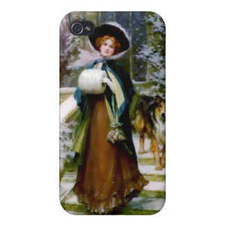 Winter Woman Collie Dog Victorian Hand Muff Cases For iPhone 4