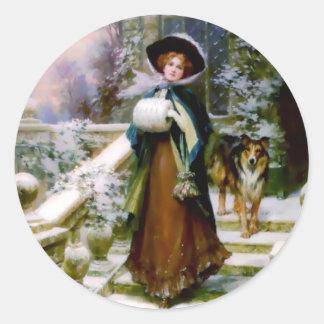 Winter Woman Collie Dog Victorian Hand Muff Classic Round Sticker