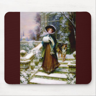 Winter Woman Collie Dog Victorian Hand Muff Mouse Pad
