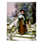 Winter Woman Collie Dog Victorian Hand Muff Postcard at Zazzle
