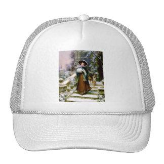 Winter Woman Collie Dog Victorian Hand Muff Trucker Hat