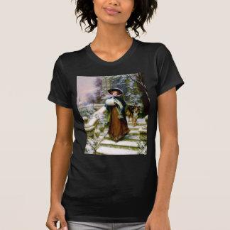 Winter Woman Collie Dog Victorian Hand Muff Tee Shirts