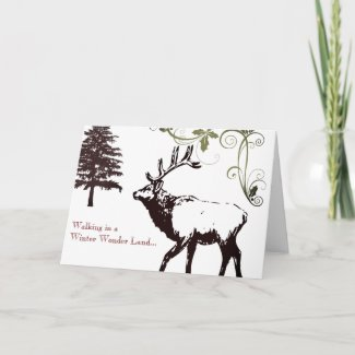 Winter Wonder Land Elk Happy Holidays Card