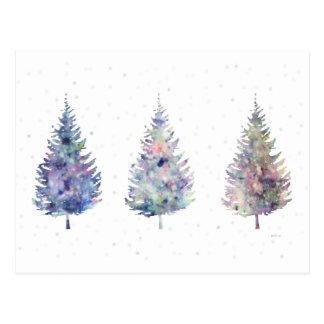 Winter Wonder Trees Art Post Cards