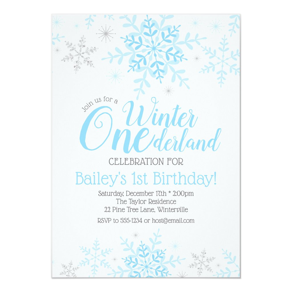 Winter Wonderland 1st Birthday Boy Blue Invitation