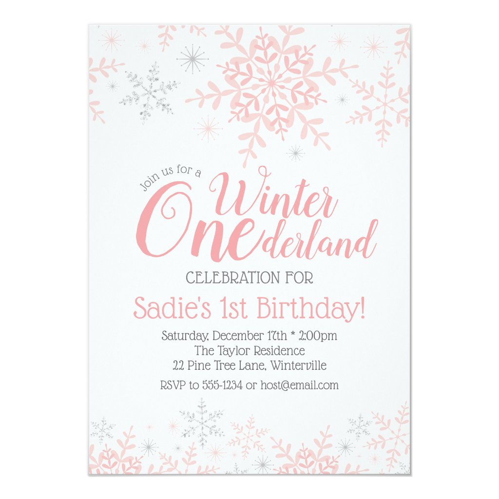 Winter Wonderland 1st Birthday Girl Pink Silver Invitation