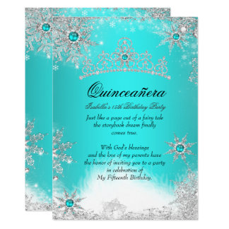 Winter Wonderland Aqua Blue Quinceanera Party Card