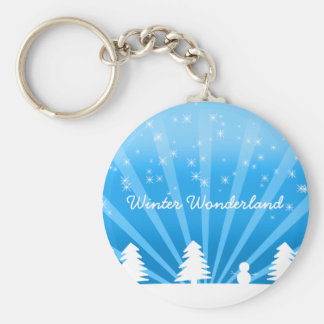 Winter Wonderland Basic Round Button Keychain
