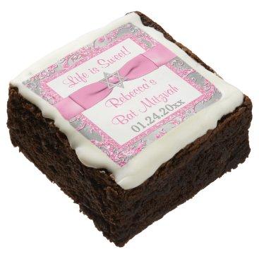 Winter Wonderland, Bat Mitzvah Brownies - Pink Square Brownie