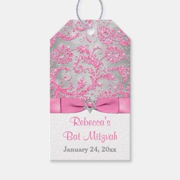 Winter Wonderland Bat Mitzvah Favor Tags - Pink