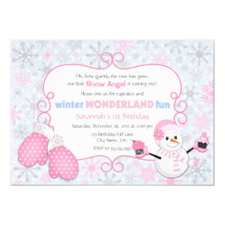 "Winter Wonderland Birthday Invitation 5"" X 7"" Invitation Card"