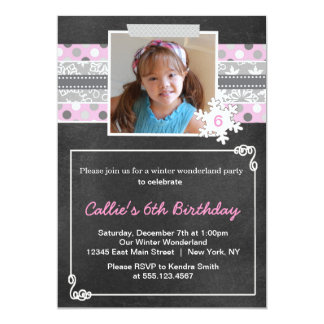 Winter Wonderland Birthday Party Invitation Pink