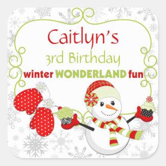 Winter Wonderland Birthday Snowman Mittens Square Stickers