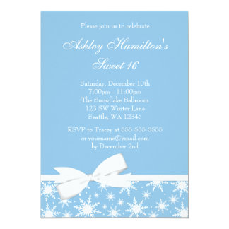 Winter Wonderland Blue Snowflake Bow Sweet 16 5x7 Paper Invitation Card