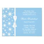 Winter Wonderland Blue Snowflakes Bow Prom 5x7 Paper Invitation Card