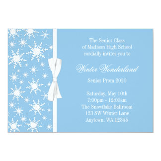 "Winter Wonderland Blue Snowflakes Bow Prom 5"" X 7"" Invitation Card"
