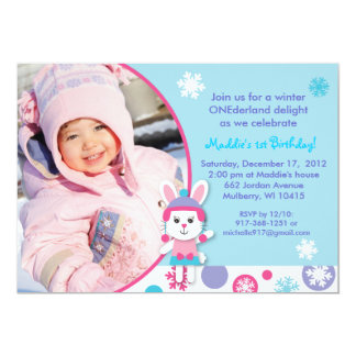 Winter Wonderland Bunny Snow Birthday Invitations