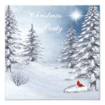 Winter Wonderland & Cardinal Christmas Party Invitation