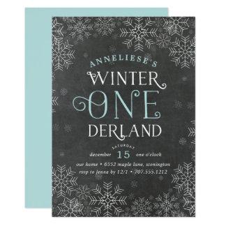 Winter Wonderland Chalkboard First Birthday Invite