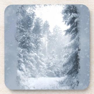 Winter Wonderland Christmas Snow Scene Beverage Coaster
