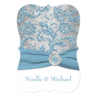 Winter Wonderland, Crystal Buckle Wedding Invite