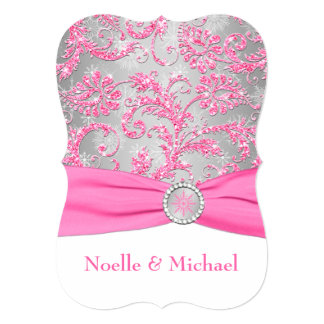 Winter Wonderland, Crystal Buckle Wedding - Pink 2 Personalized Announcements