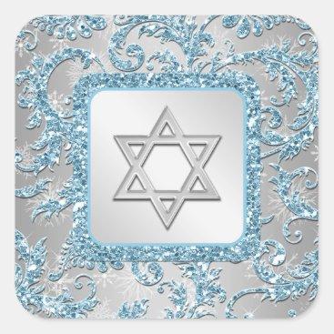 Winter Wonderland Damask Bat Mitzvah Sticker 11
