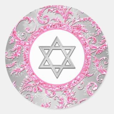 Winter Wonderland Damask Bat Mitzvah Sticker 2
