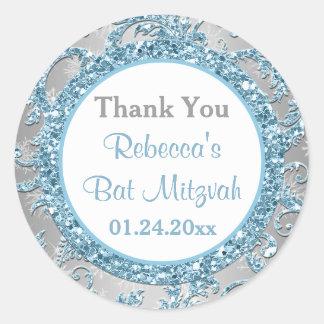 Winter Wonderland Damask Bat Mitzvah Sticker 7