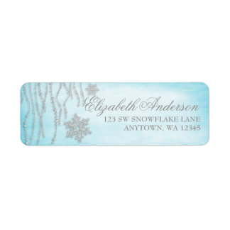 Winter Wonderland Diamond Snowflake Address Labels