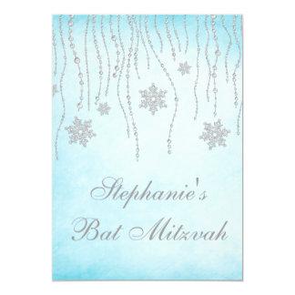 Winter Wonderland Diamond Snowflakes Bat Mitzvah Card