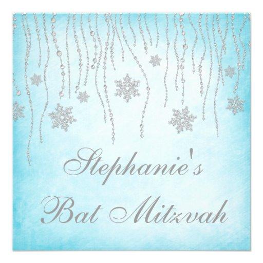 Winter Wonderland Diamond Snowflakes Bat Mitzvah Personalized Invites