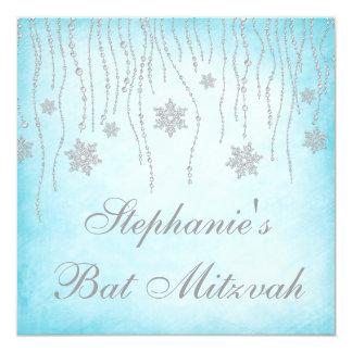 Winter Wonderland Diamond Snowflakes Bat Mitzvah 5.25x5.25 Square Paper Invitation Card