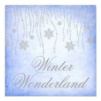 "Winter Wonderland Diamond Snowflakes Prom Blue 5.25"" Square Invitation Card"