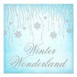 Winter Wonderland Diamond Snowflakes Prom 5.25x5.25 Square Paper Invitation Card