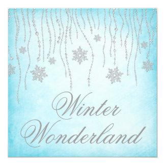 "Winter Wonderland Diamond Snowflakes Prom 5.25"" Square Invitation Card"